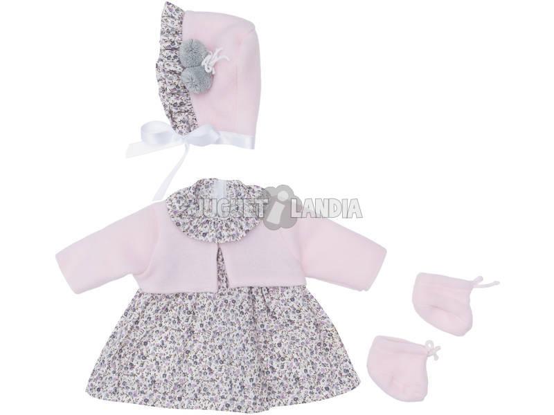 Vestido Muñeca 46 cm. Flores Grises Chaqueta Rosa Asivil 3183470