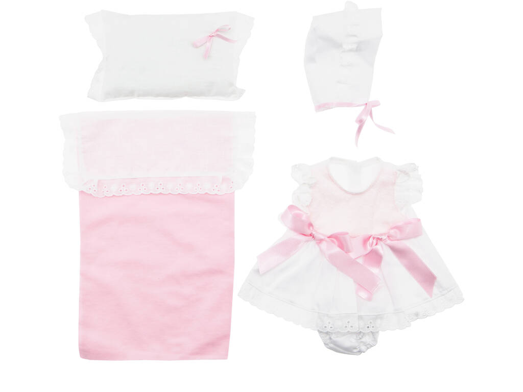 Vestido Boneca 43 cm. Malha Cor de Rosa Com Almofada Asivil 3363490