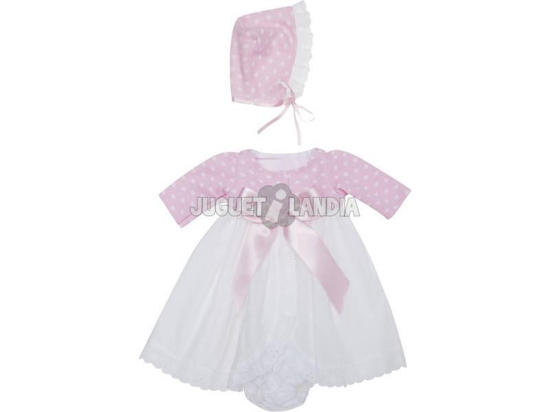 Vestido Muñeca 46 cm. Faldón Plumeti Blanco Punto Rosa Asivil 3364060