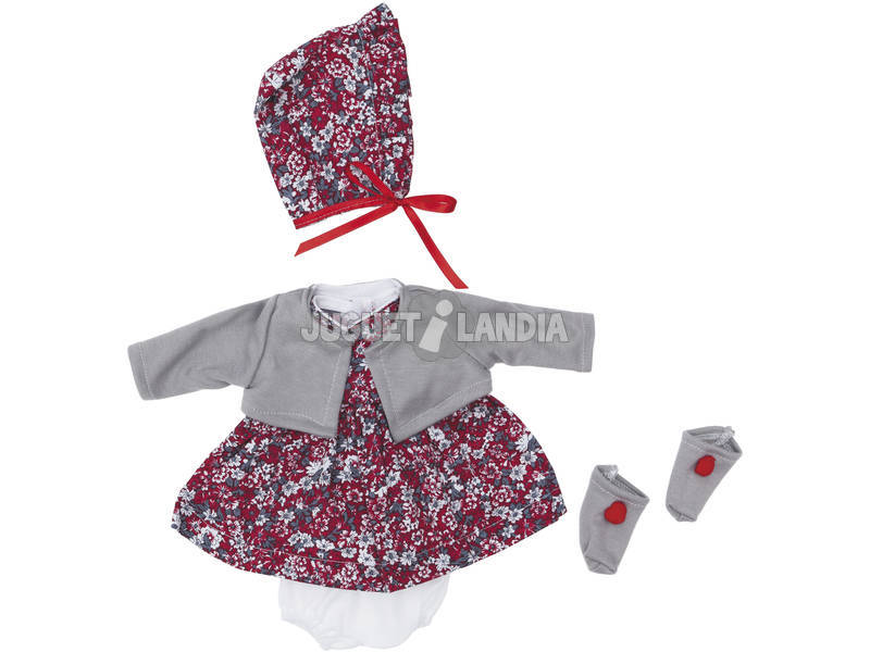 Vestido Muñeca 36 cm. Flores Rojas y Grises Asivil 3403550