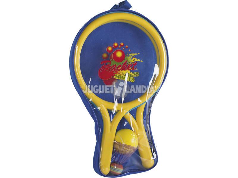 Set 2 Raquetes com Bola 6.5 cm. e Volantin Badmintong 8 cm.