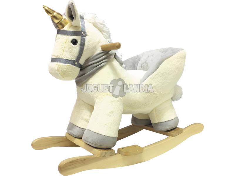 Peluche Balancín Unicornio con Silla Respaldo y Sonido