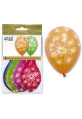 imagen Bolsa de 6 globos colores fuegos artificiales Globolandia 5715