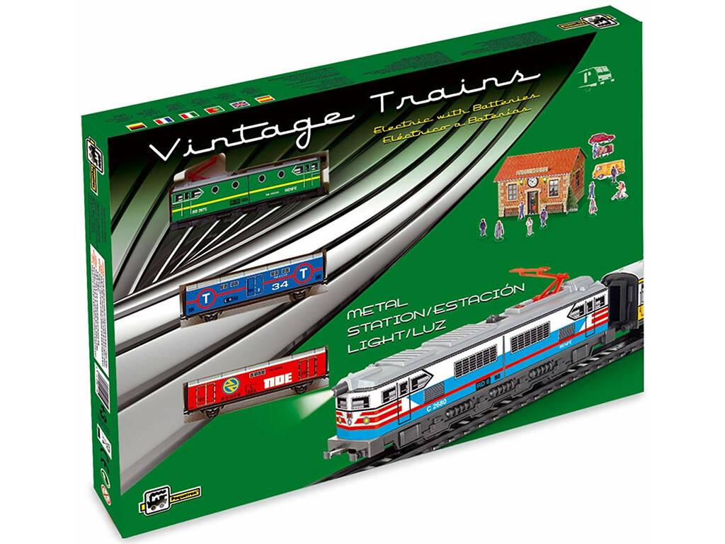 Tren Eléctrico Mercancías con Locomotora Verde y Estación Pequetren 303