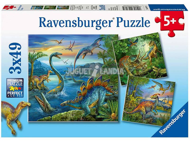 Puzzle Dinosauri 3x49 Pezzi Ravensburger 9317