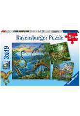 Dinosaurier Puzzle 3 x 49 Teilen Ravensburger 9317