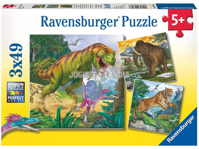 Puzzle Dinosaurios Feroces 3x49 Piezas Ravensburger 9358