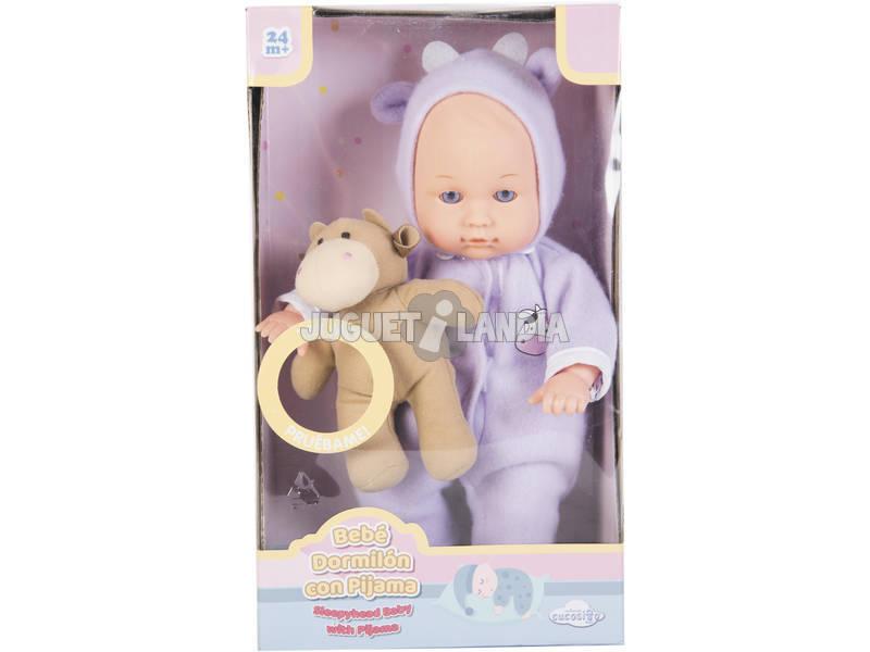 Muñeca Bebé Pijama 30 cm. con Peluche