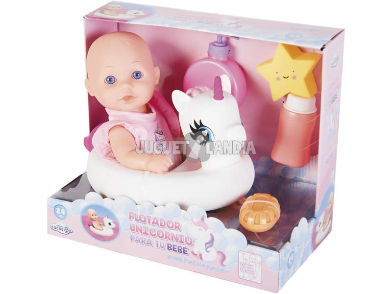 Muñeca Bebé 30 cm. con Unicornio, Bañera y Accesorios Baño