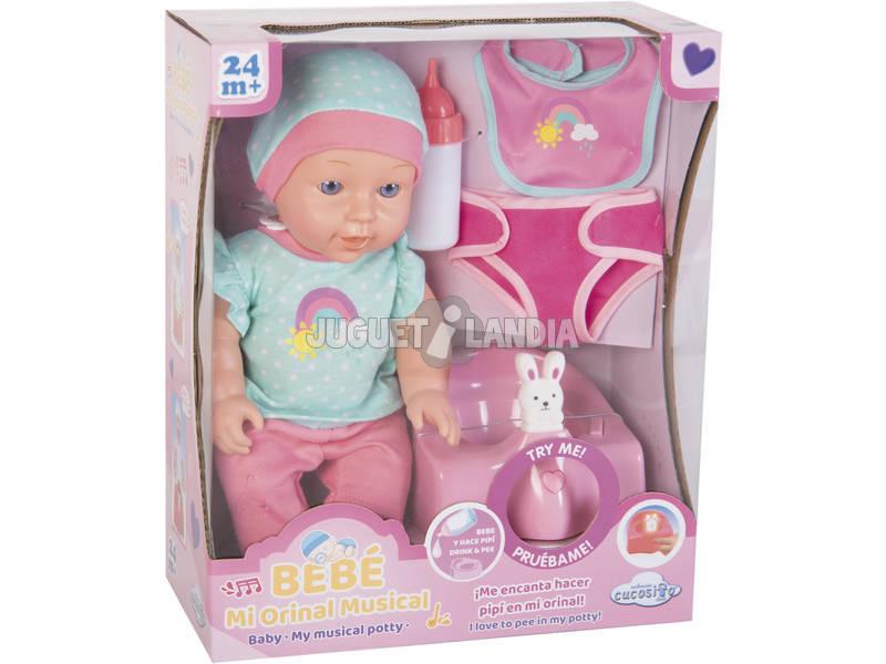 Bambola Bebé 30 cm. con Vasino Musicale e Accessori Bagno