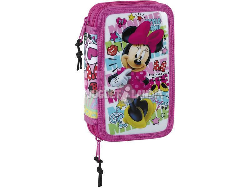 Plumier Doble Pequeño 28 Piezas Minnie Mouse Cool Safta 411848854