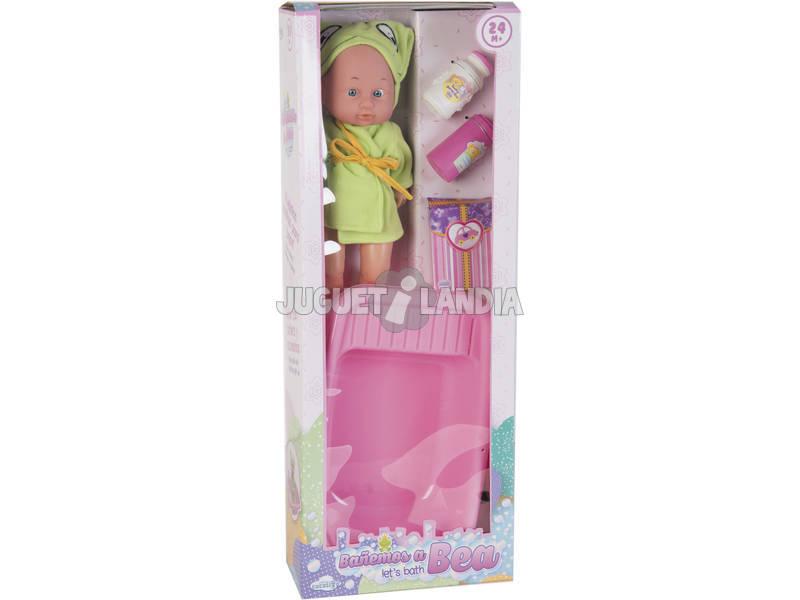 Set Boneca Bebé 30 cm. Com Banheira e Acessórios para Banho