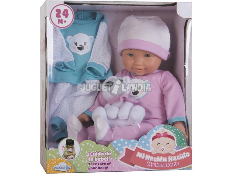 Set Bambola Bebè 36 cm con Peluche e Vestitino