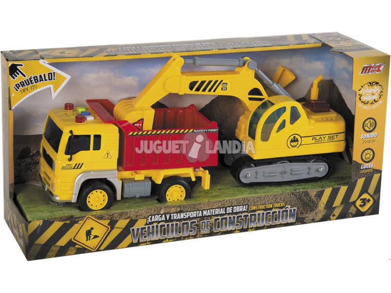 Set 2 Veicoli Costruzioni Camion con Cassone Ribaltabile ed Escavatore