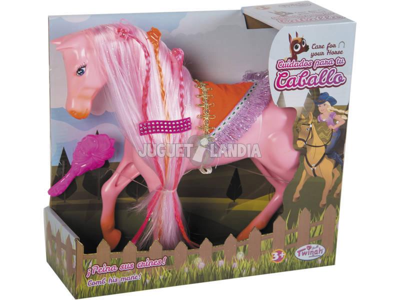 Cavalo 29 cm. Tranças de cores e escova