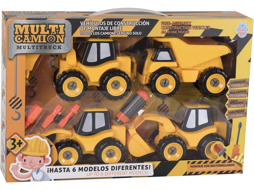 Set di 4 veicoli da costruzione con Attrezzi