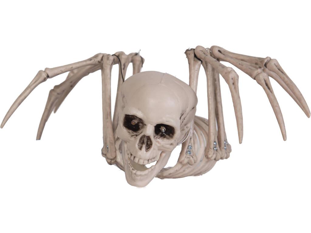 Aranha Esqueleto Luz Pendurada 34x28x16 cm.