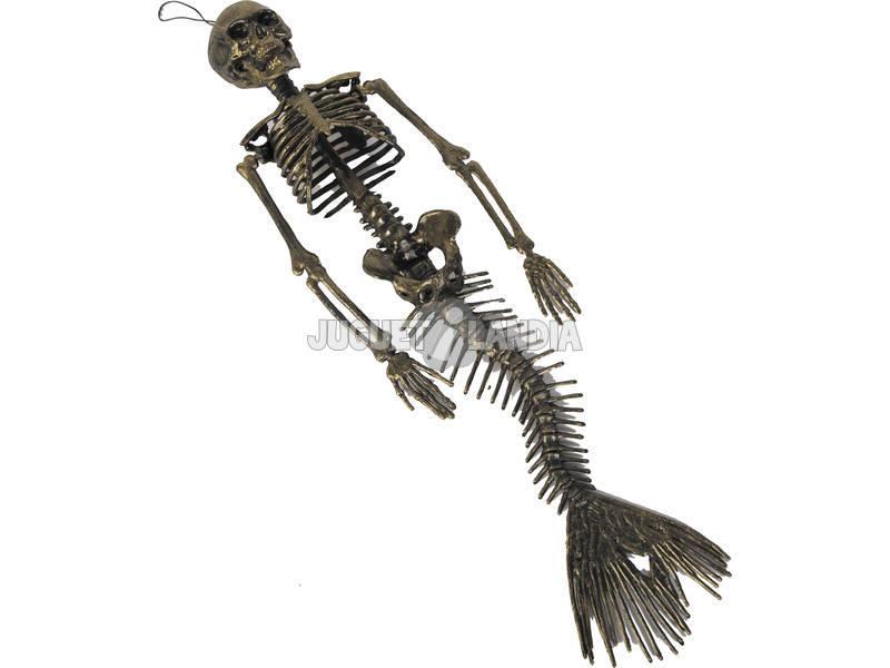 Sereia esqueleto Pendurada Dourada