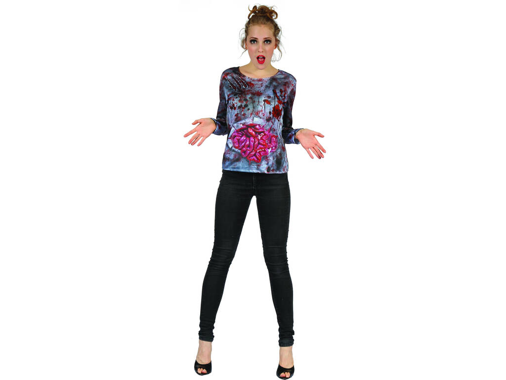 Disfraz Adulto Camiseta Mujer Zombi Talla L
