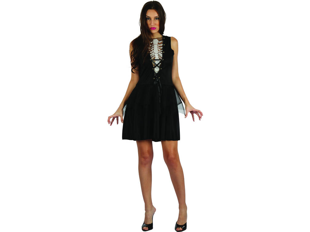 Disfraz Adulto Mujer Esqueleta de la Oscuridad Talla S