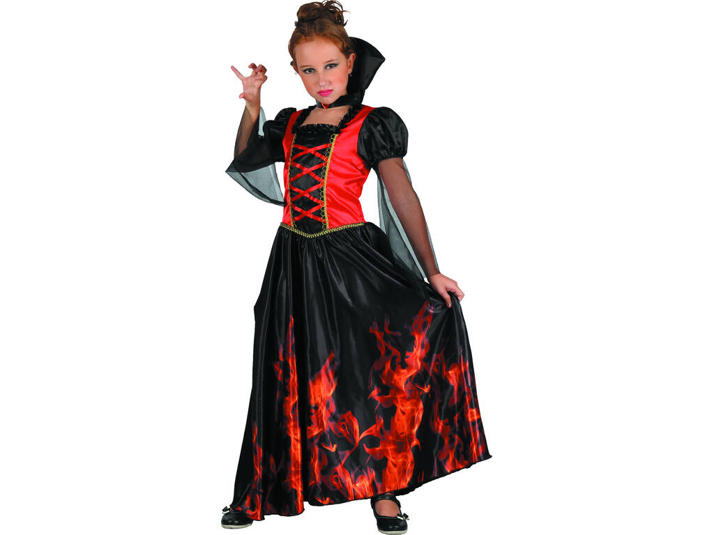 Disfarce para Menina Vampira Fogo Tamanho S