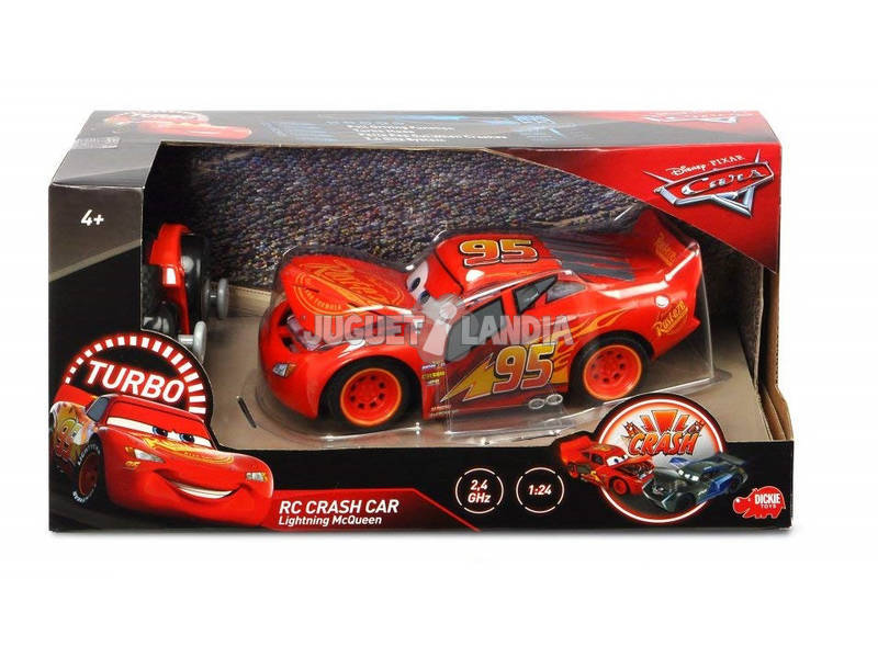 Cars 3 Radio Control Rayo McQueen Crash Car 1:24 Simba 3084018