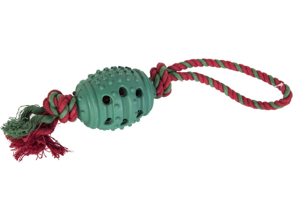 Mordedor Bola Caucho con Cuerda para Mascotas