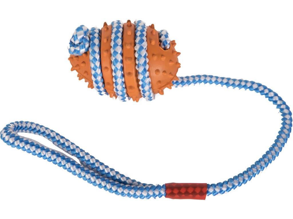 Mordedor Bola Caucho 9 cm. con Cuerda para Mascotas