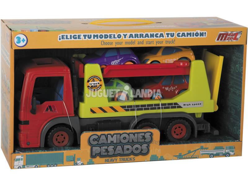 Caminhão Fricção 32 cm. com 4 Vehículos 8 cm.