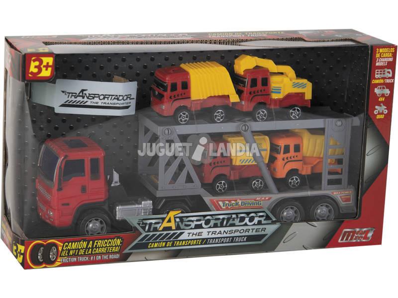 Camião de fricção 29 cm. Porta Veículos com 4 Veículos de Construção 7 cm.