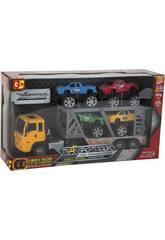 imagen Camion Friccion 29 cm. Porta Vehículos con 4 Jeeps 10 cm.