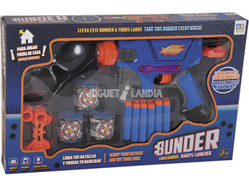 Lanzadardos 21 cm. con 12 Dardos, Botes y Accesorios