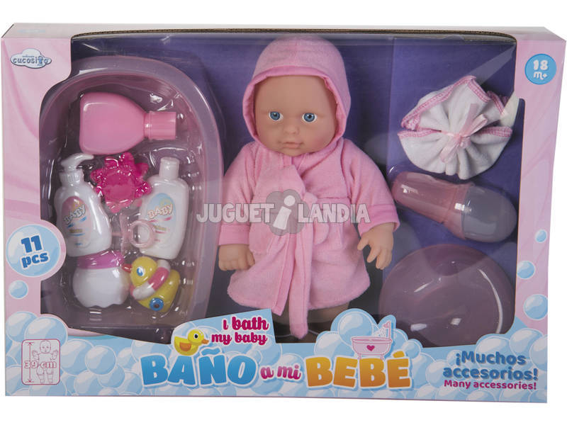 Bambola 30 cm. Con Vestaglia e Accessori 11 pezzi