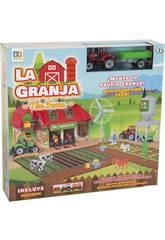Bauernhof mit Figuren, Traktor mit Anhänger und Zubehör