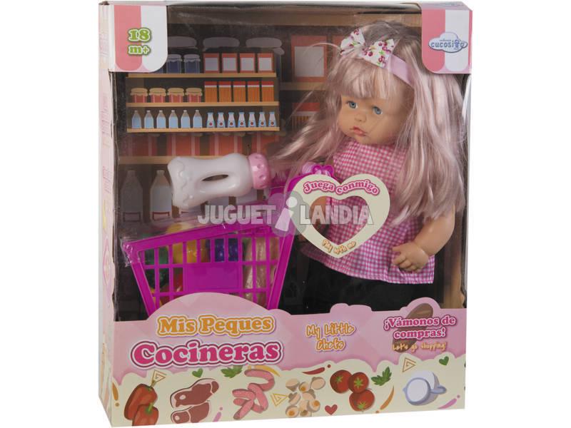 Muñeca 40 cm. con Carrito Supermercado y Accesorios