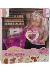 Boneca 40 cm. com Carrinho Supermercado e Acessórios