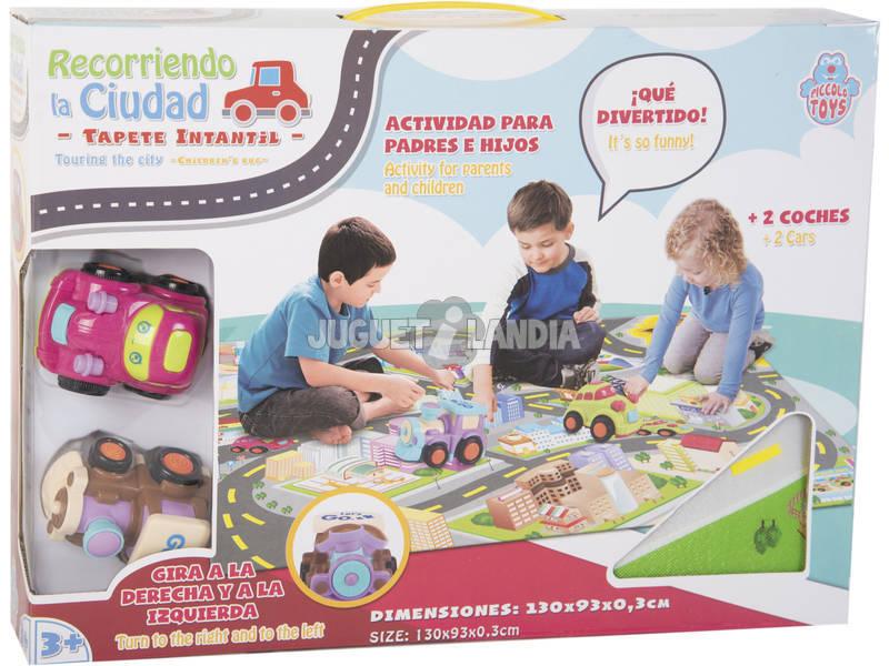 Tappetino per Bambini Percorrendo la città con 2 Veicoli