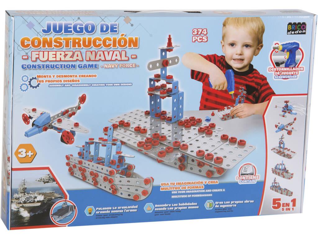 Jogo Construção veículos Navy Force 374 Peças