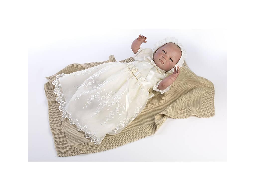 Muñeca Reborn 52 cm. Vestido Bautizo Color Crema Berbesa 5304