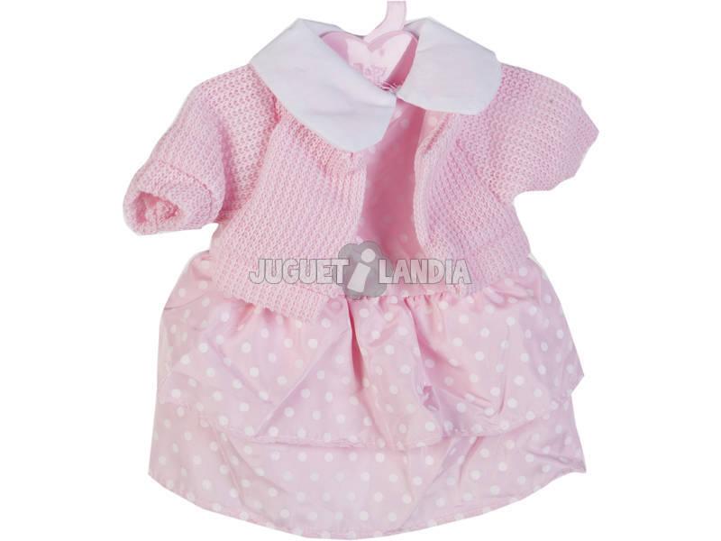 Moda Bebè Bambole 40 cm. Giacca di lana con Vestito a pois Rosa