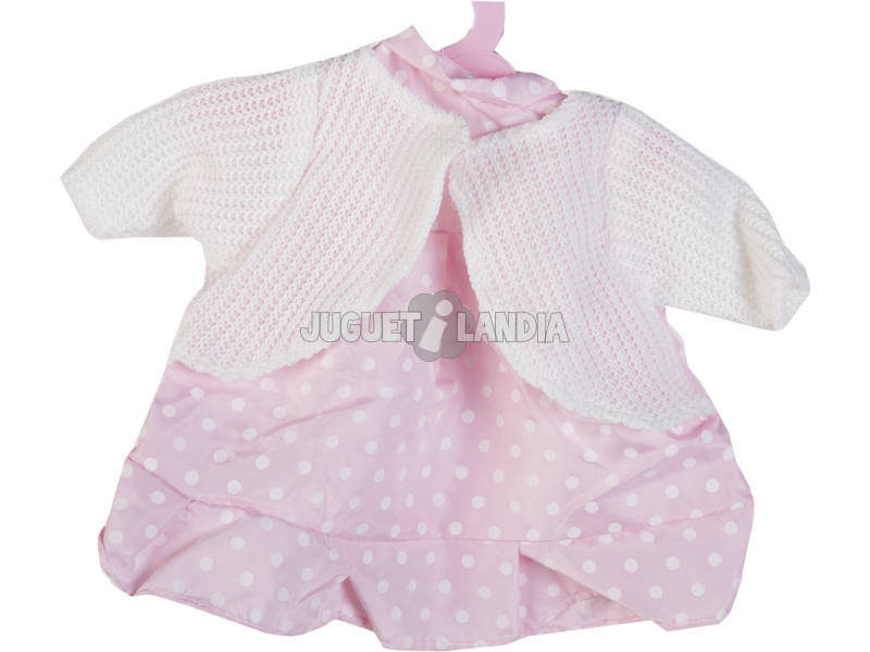 Moda Bebé Muñecas 40 cm. Traje Pantalón Ros con Chaquetilla Punto Blanca