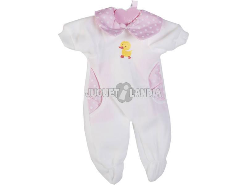Moda Bebé Muñecas 40 cm. Mono Blanco y Rosa Lunares