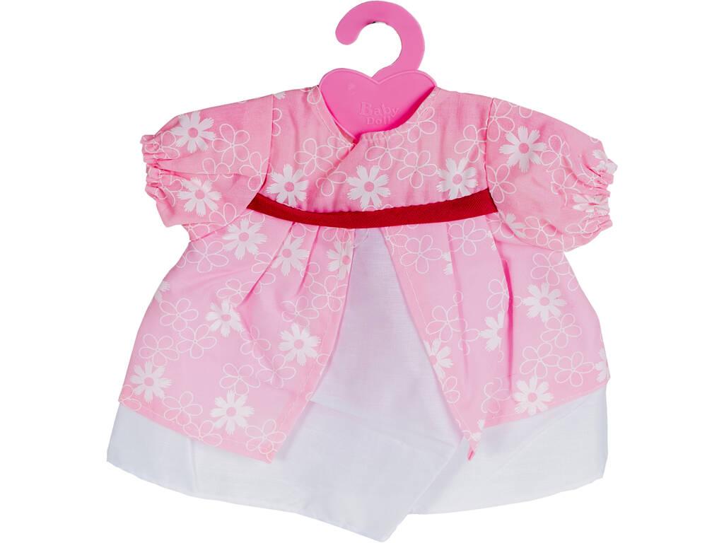 Moda Bebè Bambole 40 cm. Vestito Bianco e Rosa con Ricami