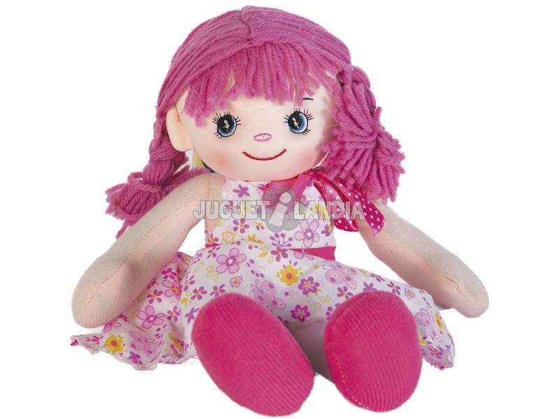 Muñeca Trapo Vestido Rosa 40 cm.