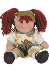 Muñeca Trapo Vestido Cuadros 30 cm.