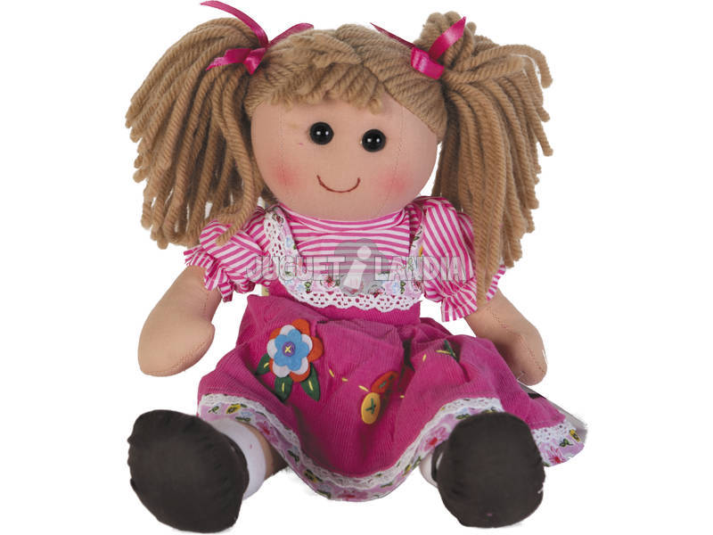 Boneca de Trapo Rosa Veludo 40 cm.