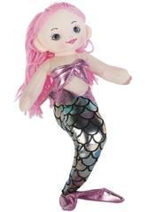 imagen Sirena Rosa Plata Muñeca de Trapo 30 cm.