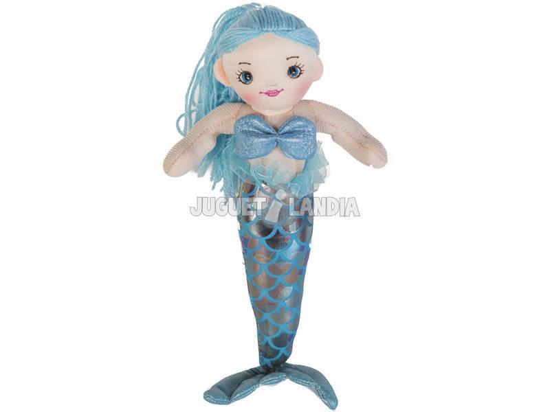 Sirena Azul Plata Muñeca de Trapo 30 cm.