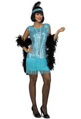 Disfarce Mulher L Charleston Azul-Turquesa