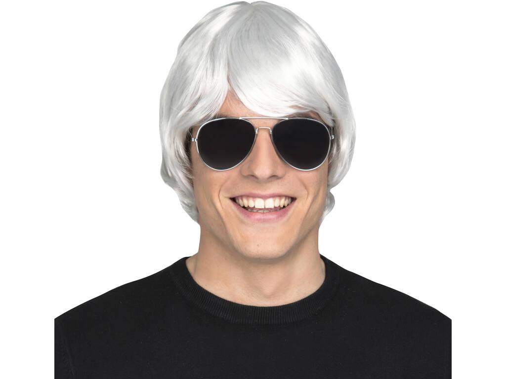 Peluca Adulto Hombre Corta Blanca